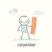 carpenter holding board