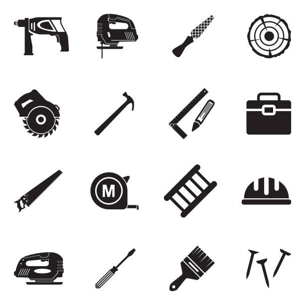 Carpenter Icons. Black Flat Design. Vector Illustration. Carpenter, Working, Tools, Industry, Wood carpenter stock illustrations