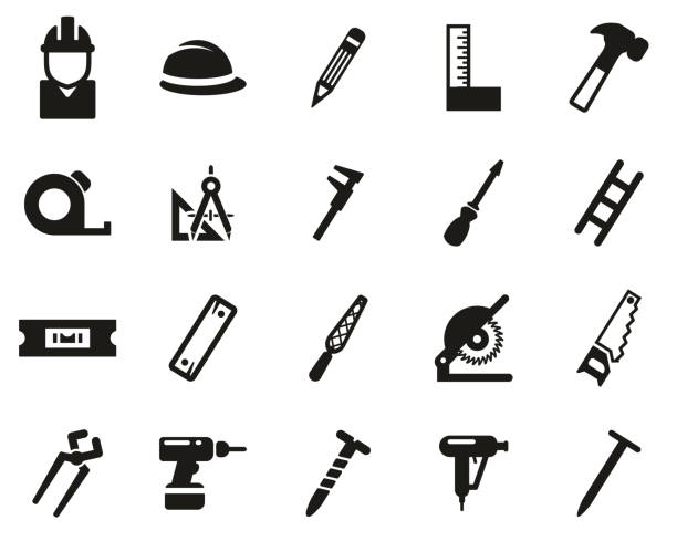 Carpenter Icons Black & White Set Big This image is a illustration and can be scaled to any size without loss of resolution. nail work tool stock illustrations