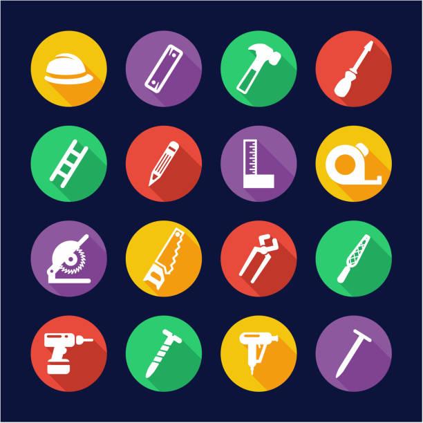 ilustrações, clipart, desenhos animados e ícones de carpenter icons flat design circle - segundo grau