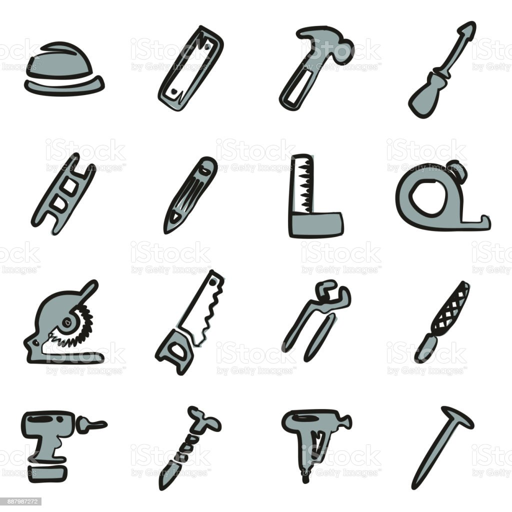 Carpenter Icons Freehand 2 Color vector art illustration