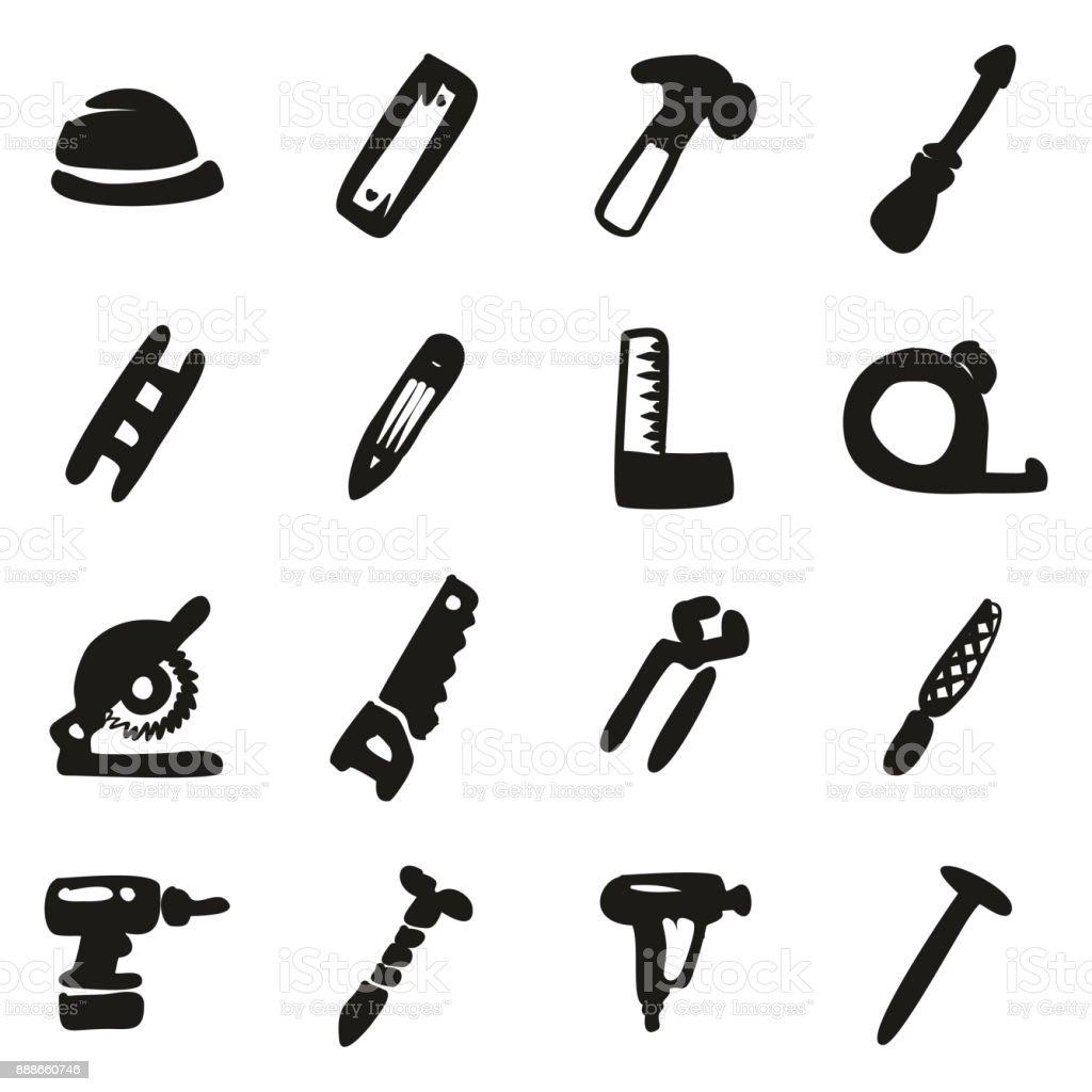 Carpenter Icons Freehand Fill vector art illustration