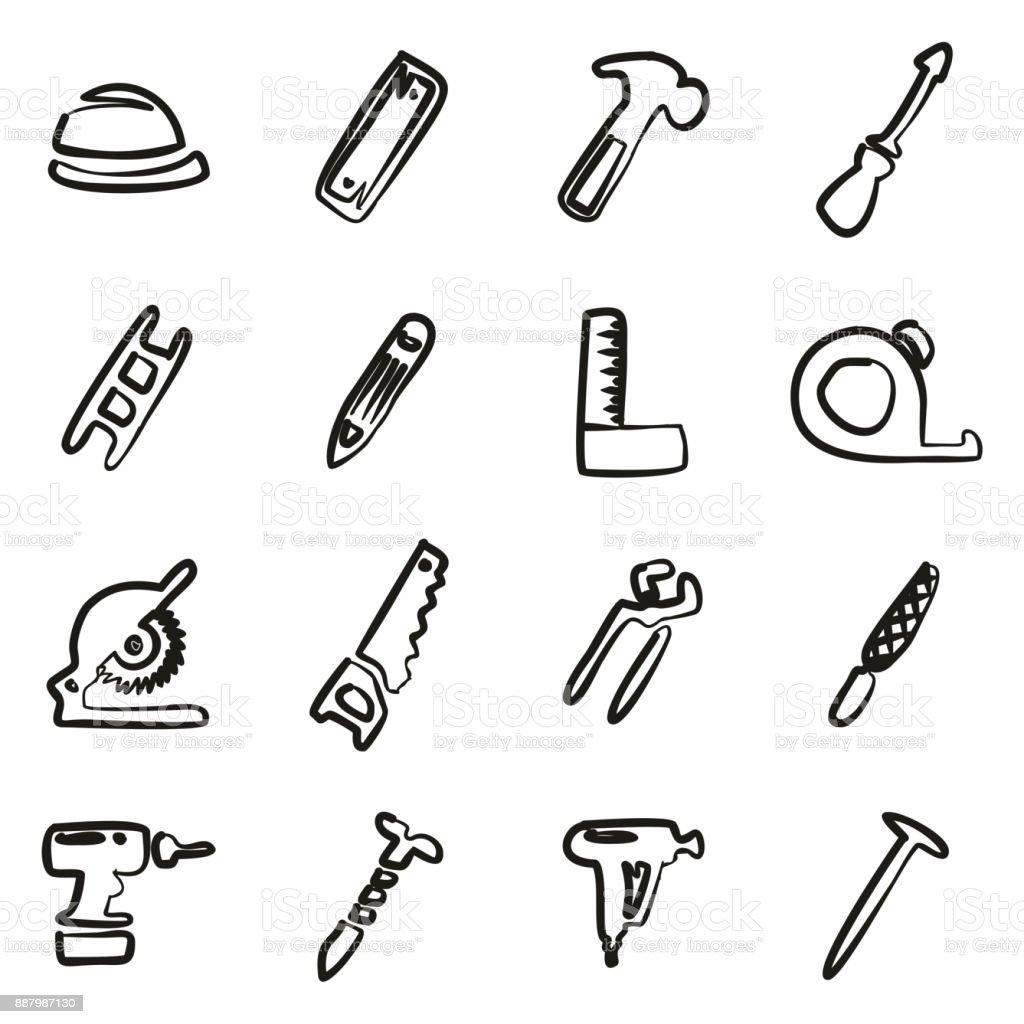 Carpenter Icons Freehand vector art illustration