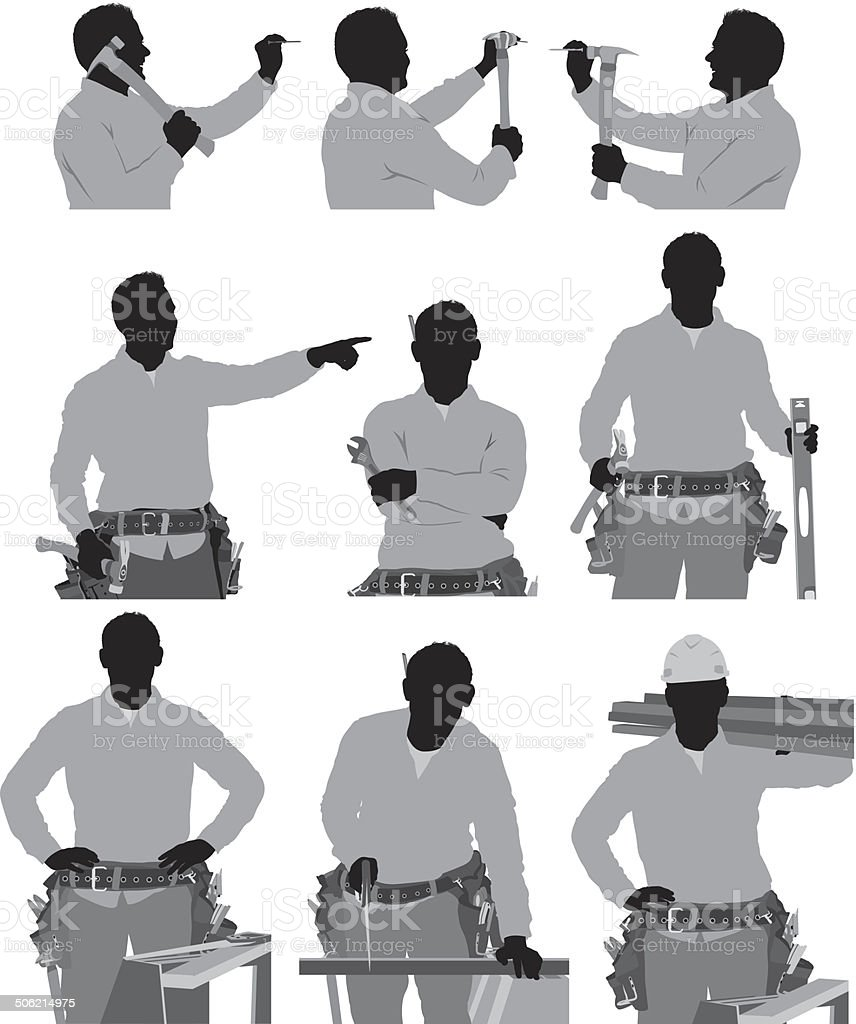 Carpenter in various actions vector art illustration