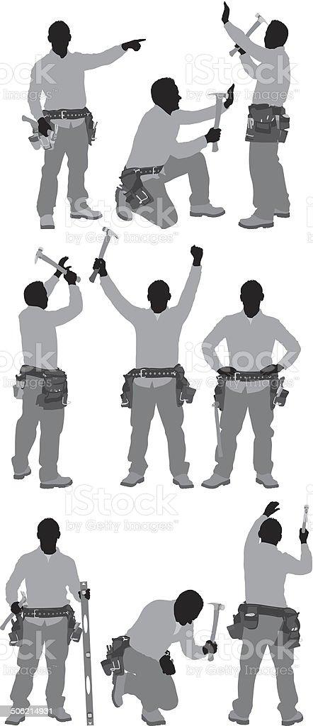 Carpenter in various poses royalty-free stock vector art