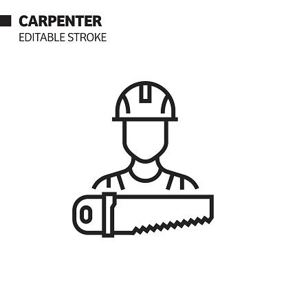 Carpenter Line Icon, Outline Vector Symbol Illustration. Pixel Perfect, Editable Stroke.