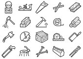 There is a set of Icons about carpenter and related tools in style of clip art.