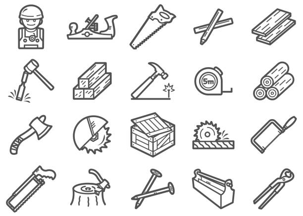 Carpenter Line Icons Set There is a set of Icons about carpenter and related tools in style of clip art. carpenter stock illustrations