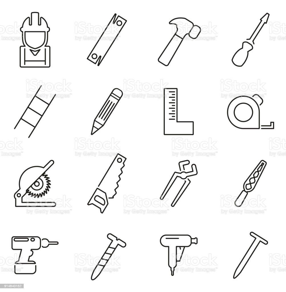 Carpenter or Woodworker or Handyman Icons Thin Line Vector Illustration Set vector art illustration