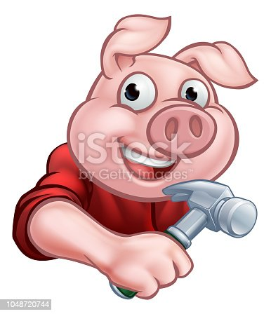 A builder or carpenter pig cartoon character holding a hammer. Could be the one of three little pigs who built his house of wood