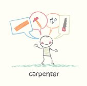 carpenter thinks about tools, hammers, nails, saw, board