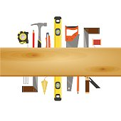 Vector Carpenter or construction Banner with tools like hammer, saw, angel, level and measuring tape, wooden plank with space for text