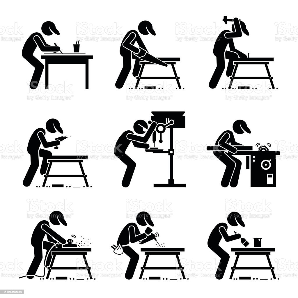 Carpenter using Woodworking Tools Equipment with Workbench vector art illustration