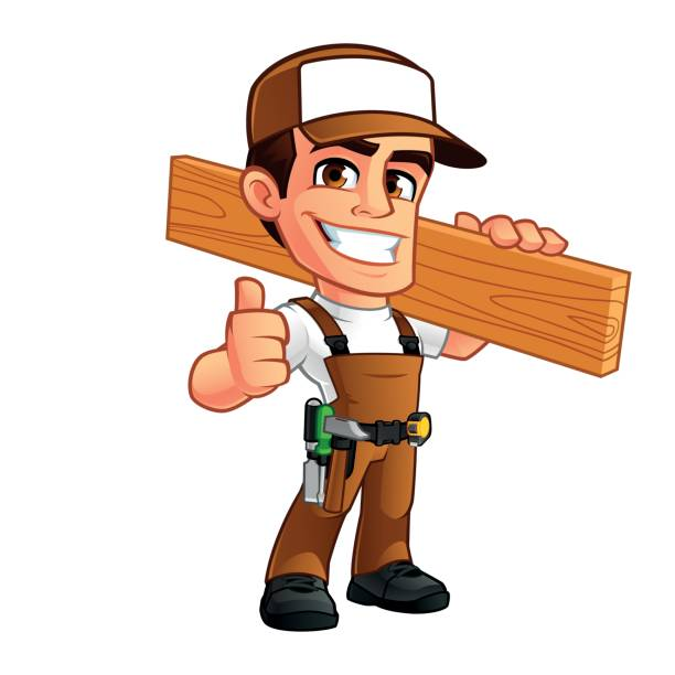 Carpenter Friendly carpenter, he is dressed in work clothes carpenter stock illustrations