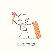 carpenter with a hammer and board