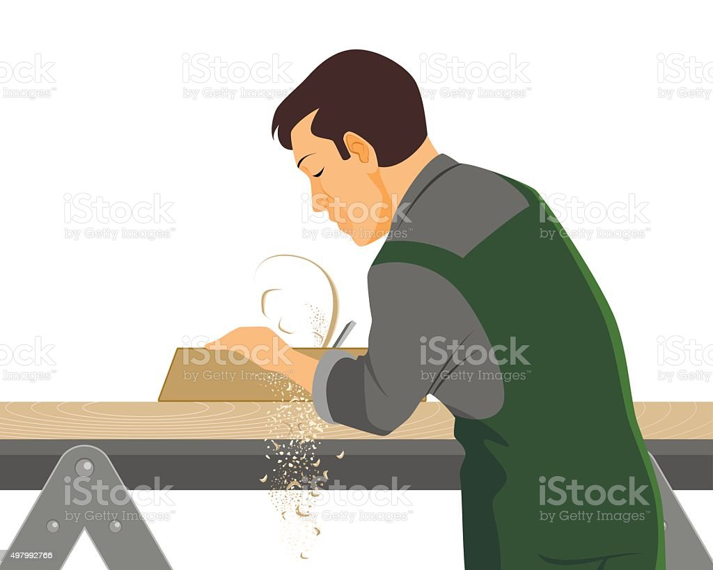 Carpenter with plane vector art illustration