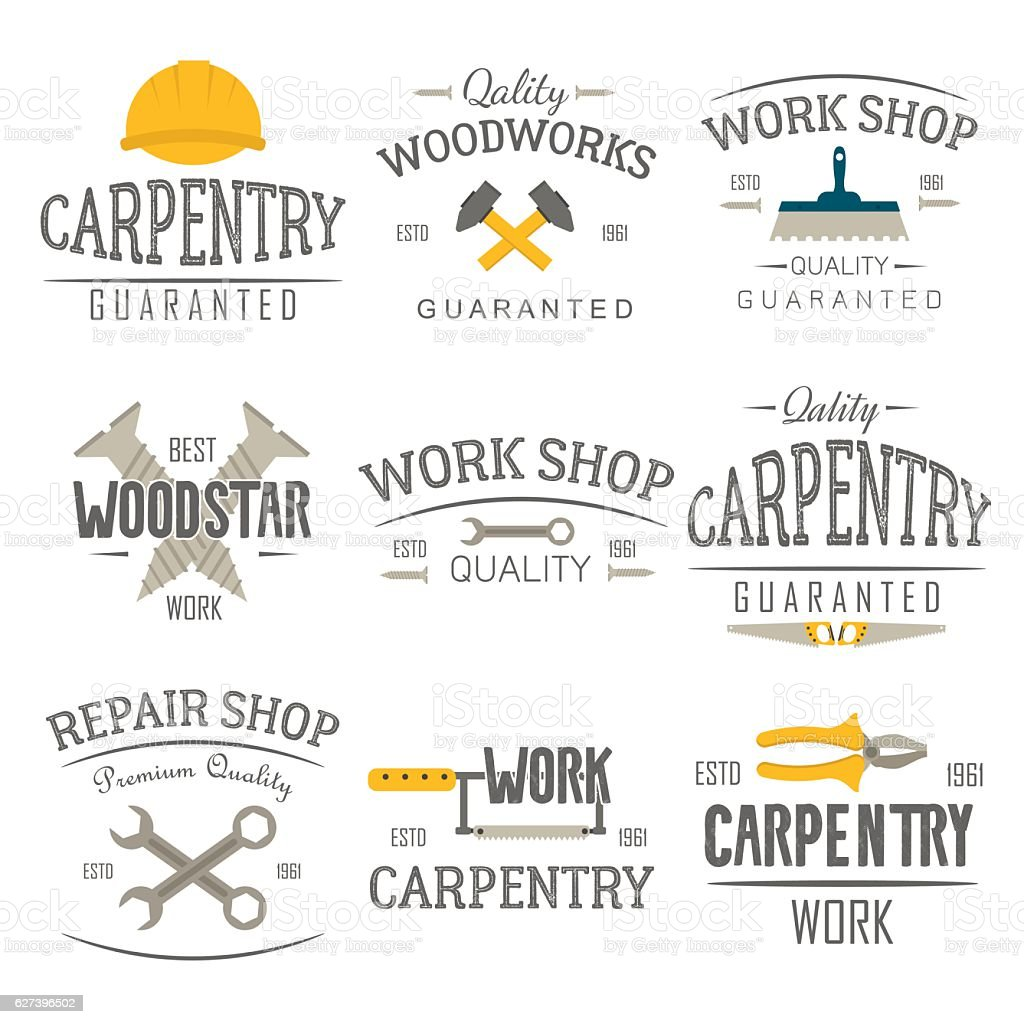 Carpentry and construction tools emblems. vector art illustration