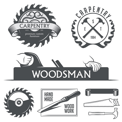 Carpentry and woodwork design elements in vintage style.