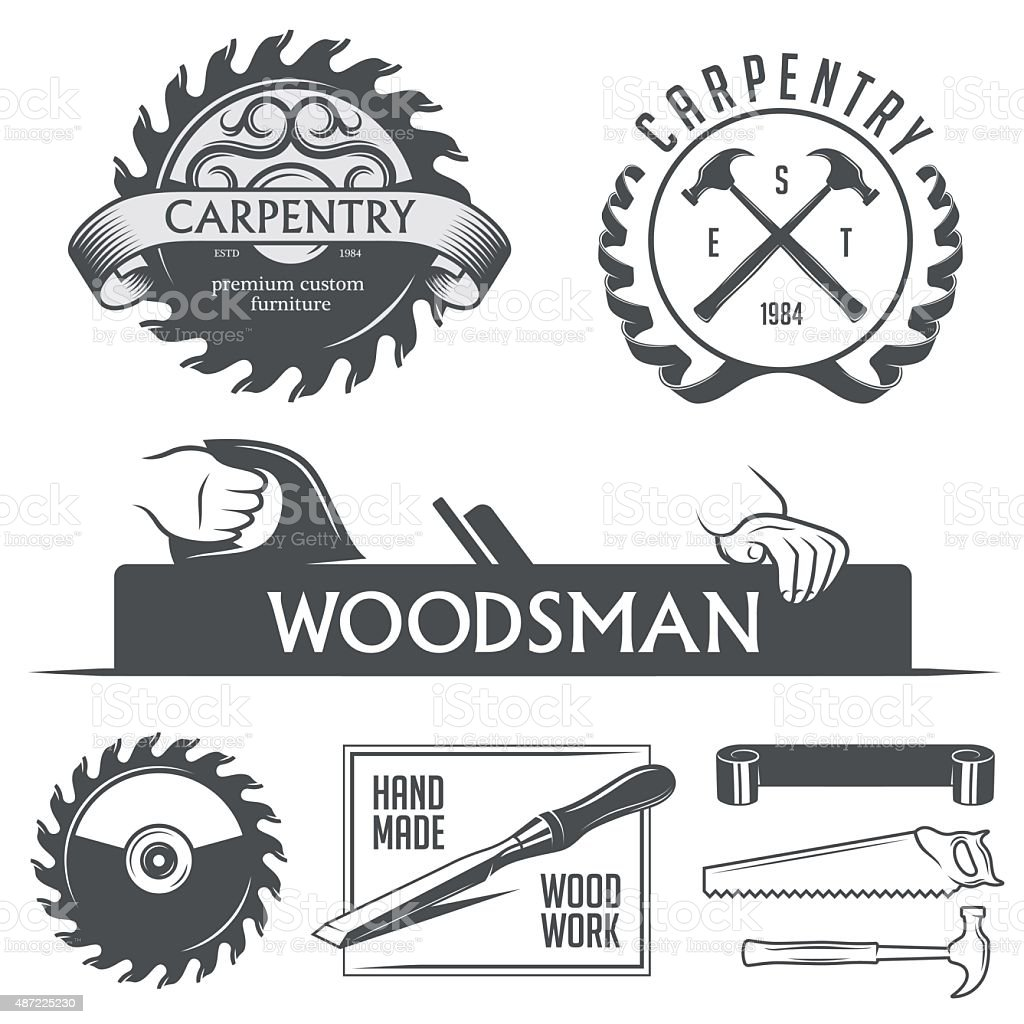 Carpintería y carpintería elementos de diseño de estilo vintage. - ilustración de arte vectorial