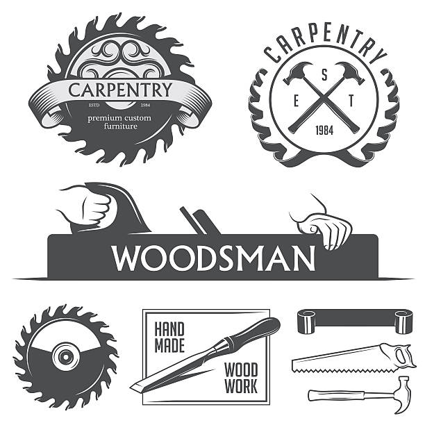 carpentry and woodwork design elements in vintage style. - carpenter stock illustrations, clip art, cartoons, & icons