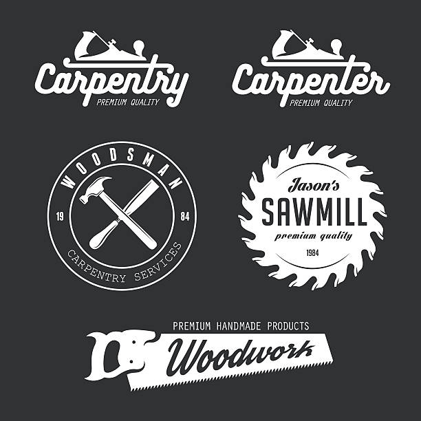 Carpentry emblems, badges, design elements. Carpenter design elements in vintage style for logo, label, badge, t-shirts. Carpentry retro vector illustration. carpenter stock illustrations