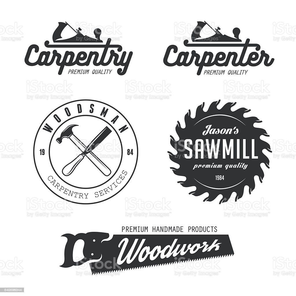 Carpintería emblemas, placas y elementos de diseño. - ilustración de arte vectorial