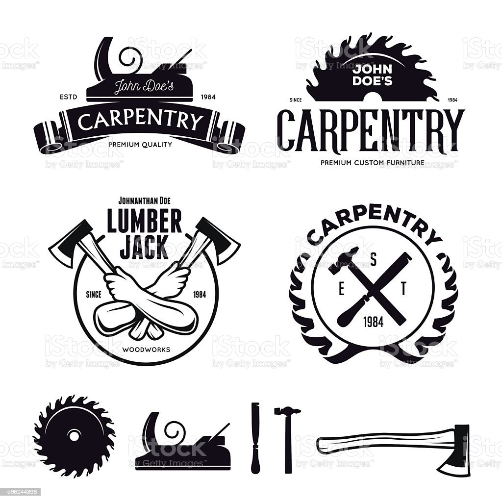Carpentry emblems, badges, design elements. Vector vintage illustration. vector art illustration