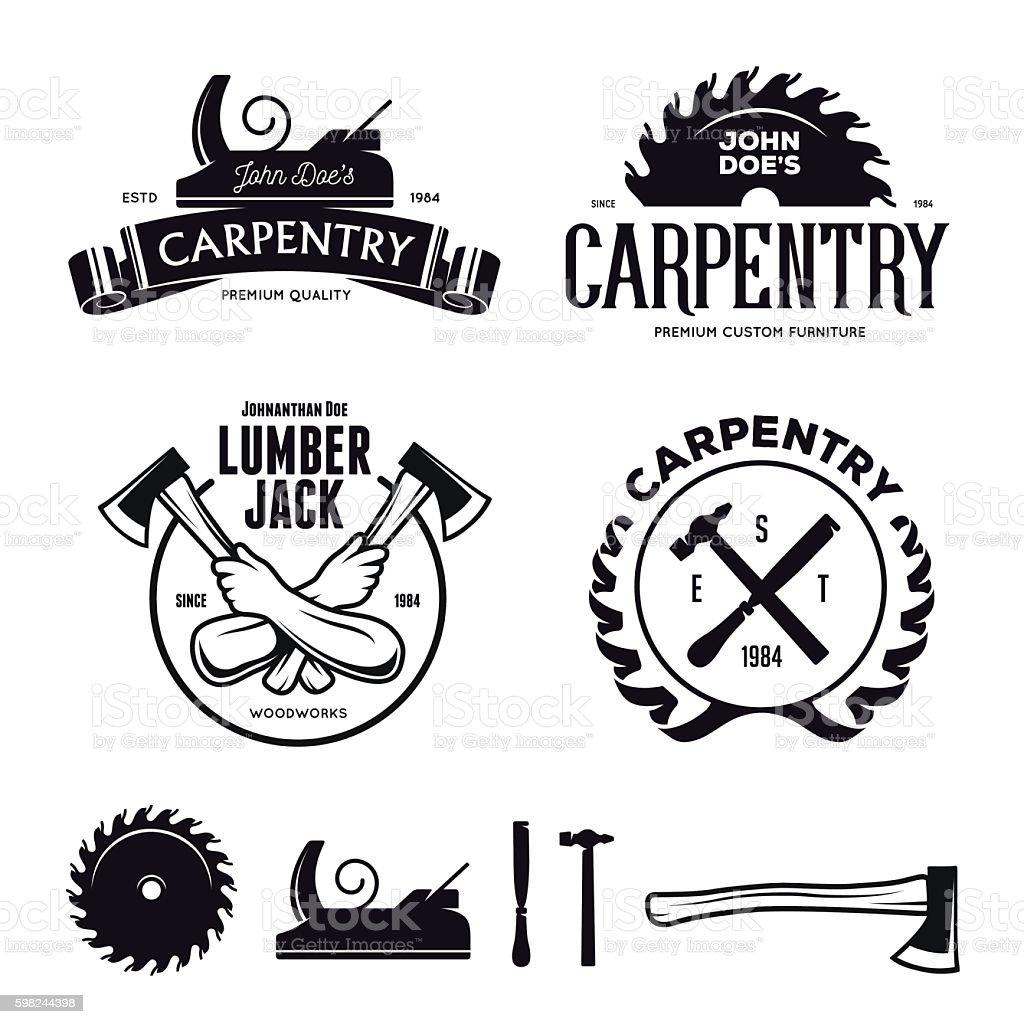 Carpentry emblems, badges, design elements. Vector vintage illustration. - ilustración de arte vectorial