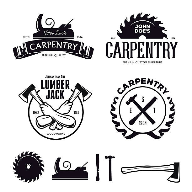 ilustraciones, imágenes clip art, dibujos animados e iconos de stock de carpentry emblems, badges, design elements. vector vintage illustration. - carpintero