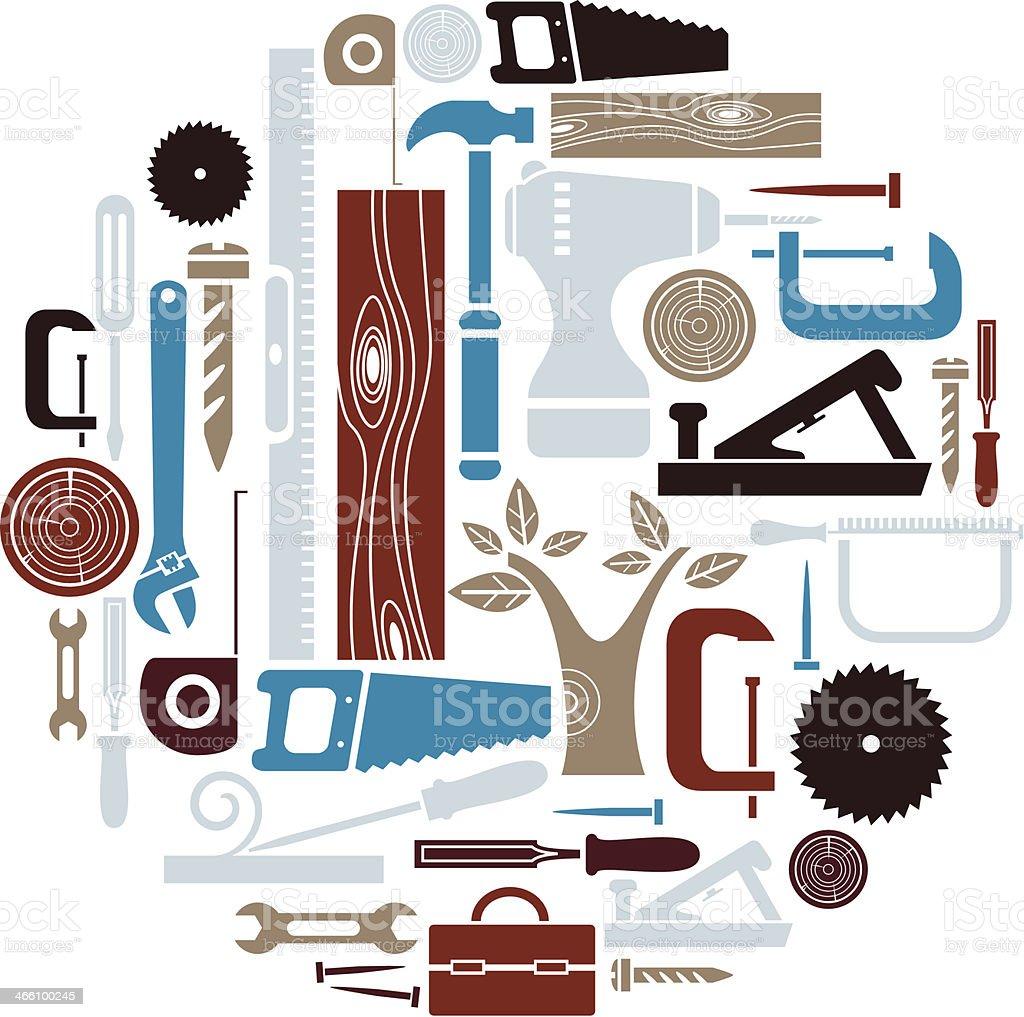 Carpentry Icon Set vector art illustration