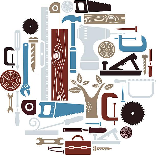 tischlerarbeit icon-set - nagelplatte stock-grafiken, -clipart, -cartoons und -symbole