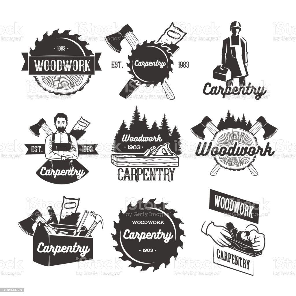 Modelos de ícone de carpintaria - ilustração de arte em vetor