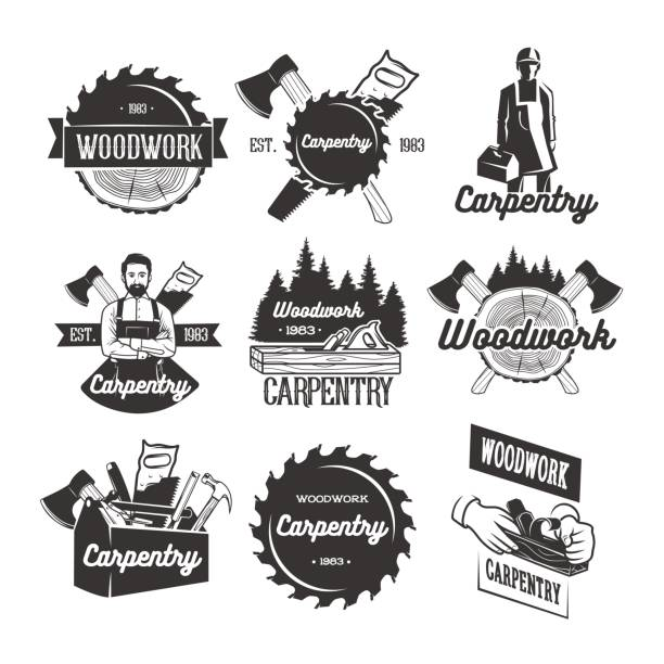Carpentry icon templates Black and white vector objects carpenter stock illustrations