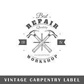 Carpentry label isolated on white background. Design element. Template for logo, signage, branding design. Vector illustration