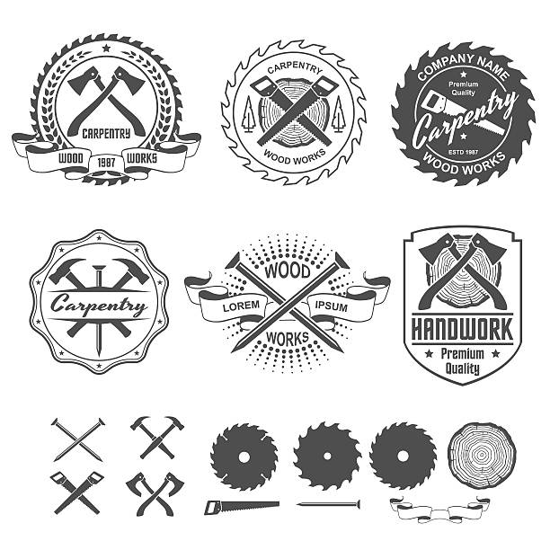 carpentry labels emblems and design elements - carpenter stock illustrations, clip art, cartoons, & icons