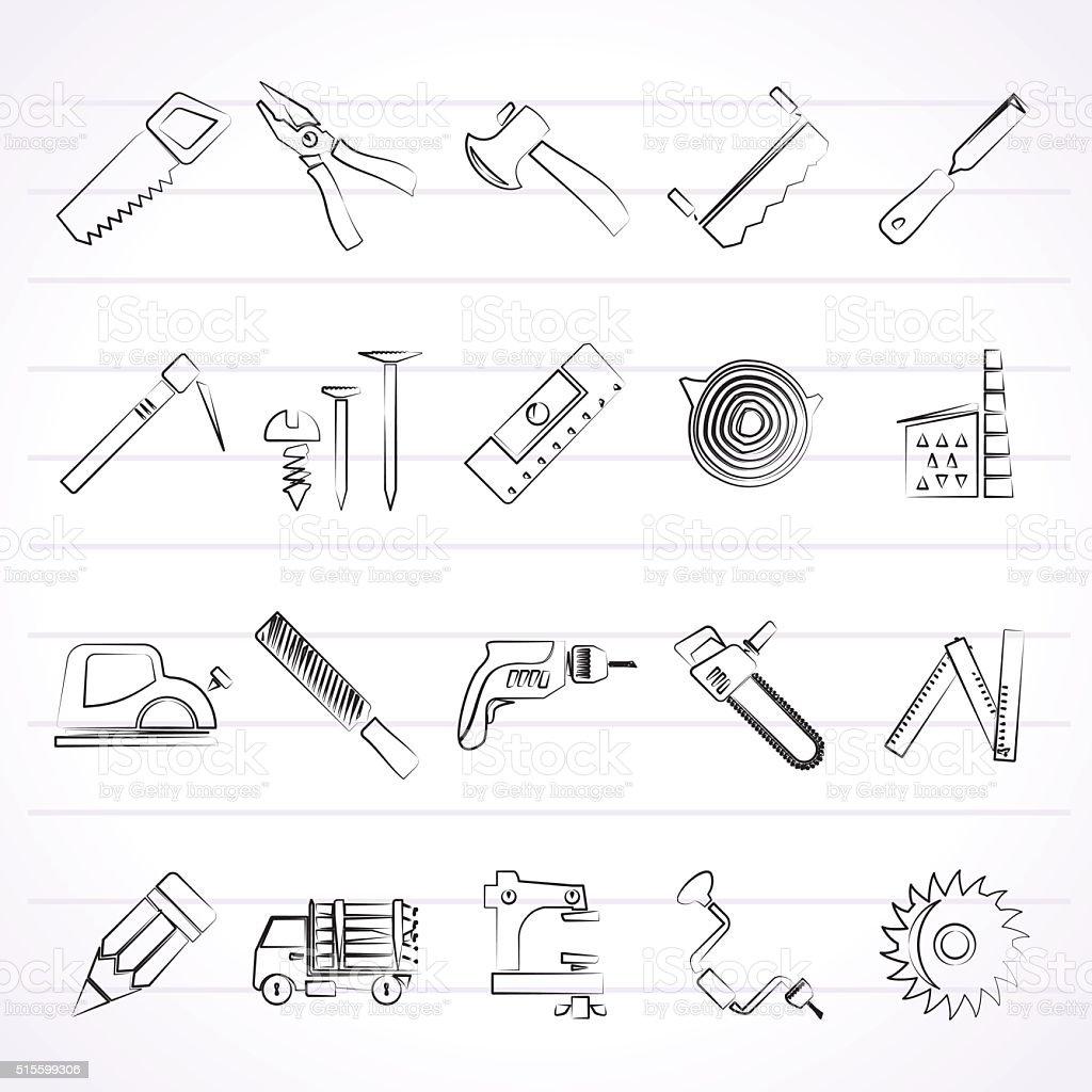 Tischlerarbeit Holzhandel Und Holzarbeiten Symbole Vektor