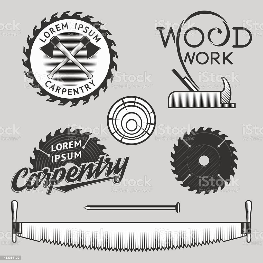 Carpentry logos, labels and design elements. Stock vector. vector art illustration