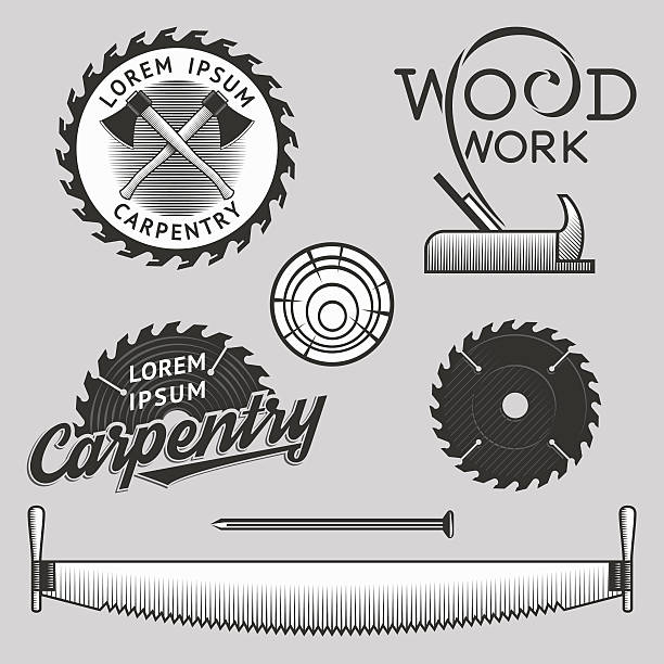 carpentry logos, labels and design elements. stock vector. - carpenter stock illustrations, clip art, cartoons, & icons