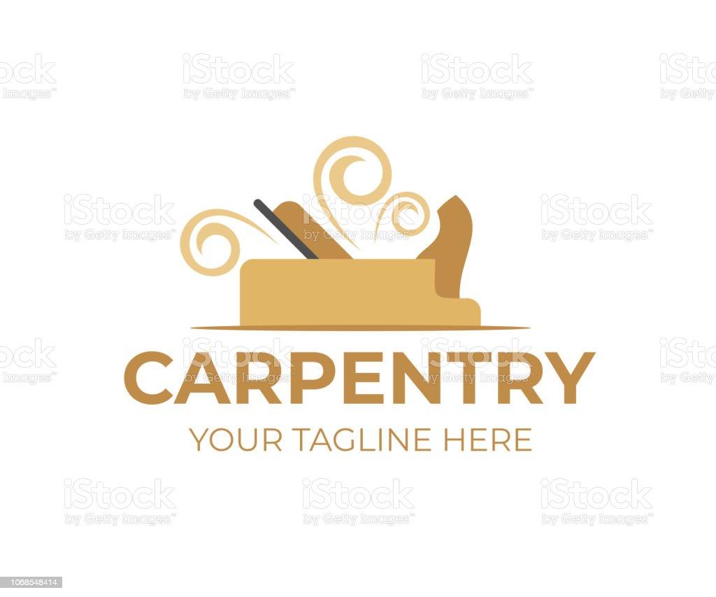 Carpentry Plane With Wooden Shavings Or Chips Logo Design