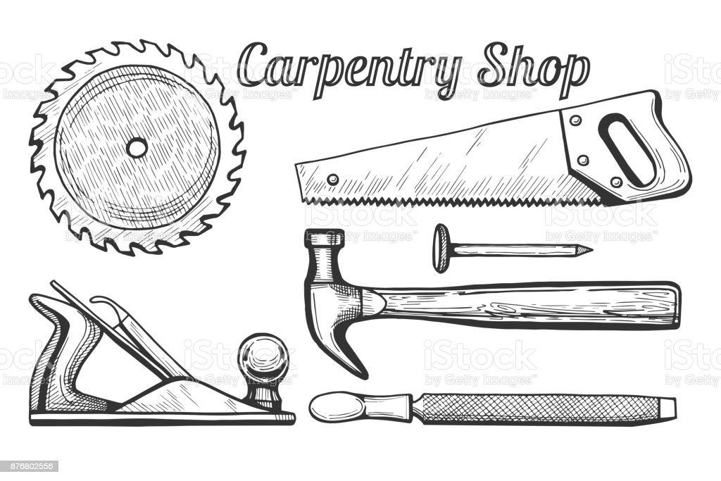 Iconos de taller de carpintería - ilustración de arte vectorial