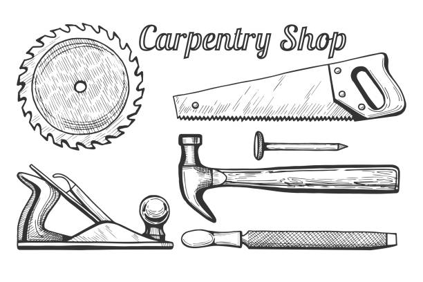 Carpentry shop icons Vector illustration of woodworking or carpentry equipment tools icons. Instruments: circular or miter saw blade, plane, hammer and nail, hand saw, file. Hand drawn engraving style. carpenter stock illustrations