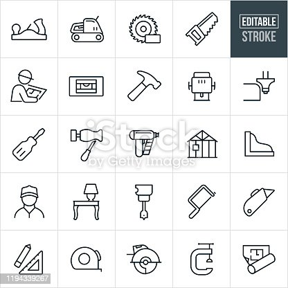 A set of carpentry icons that include editable strokes or outlines using the EPS vector file. The icons include common carpentry tools such as a hand planer, electric sander, saw blade, wood saw, carpenter, level, hammer, hand router, router, screwdriver, chisel, lathe, nail gun, house being constructed, wood work, wood furniture, drill, coping saw, box cutter, ruler, tape measure, vice and floor plan to name a few.