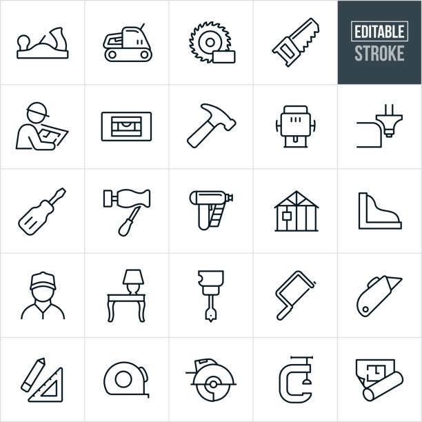 Carpentry Thin Line Icons - Editable Stroke A set of carpentry icons that include editable strokes or outlines using the EPS vector file. The icons include common carpentry tools such as a hand planer, electric sander, saw blade, wood saw, carpenter, level, hammer, hand router, router, screwdriver, chisel, lathe, nail gun, house being constructed, wood work, wood furniture, drill, coping saw, box cutter, ruler, tape measure, vice and floor plan to name a few. carpenter stock illustrations