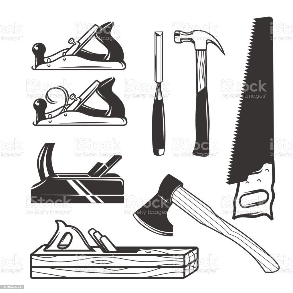 Zimmerhandwerkwerkzeuge Symbolvorlagen Stock Vektor Art und mehr ...