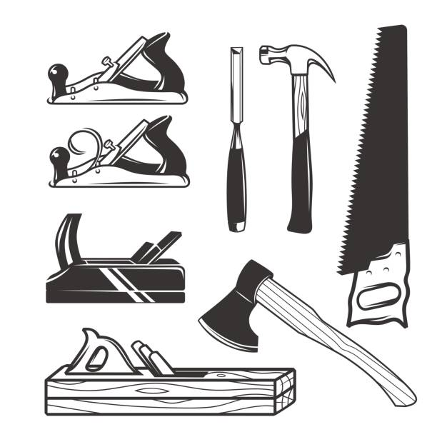 carpentry tools. icon templates. - carpenter stock illustrations, clip art, cartoons, & icons