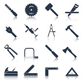 Carpentry wood work tools and equipment black icons set isolated vector illustration