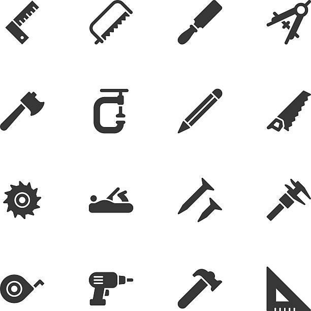 carpentry tools icons - regular - carpenter stock illustrations, clip art, cartoons, & icons