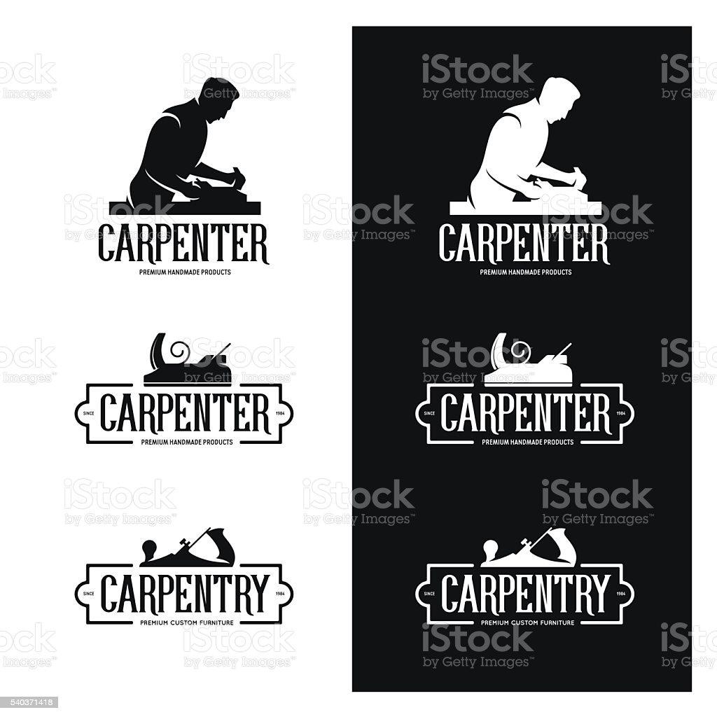 Carpintería vintage etiquetas conjunto. Carpintero emblems. Ilustración de vectores. - ilustración de arte vectorial