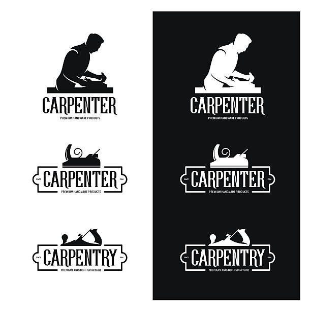 Carpentry vintage labels set. Carpenter emblems. Vector illustration. Carpentry vintage labels set. Carpenter emblems. Design elements for carpentry shop advertising and branding. Trendy monochrome vector illustration. carpenter stock illustrations