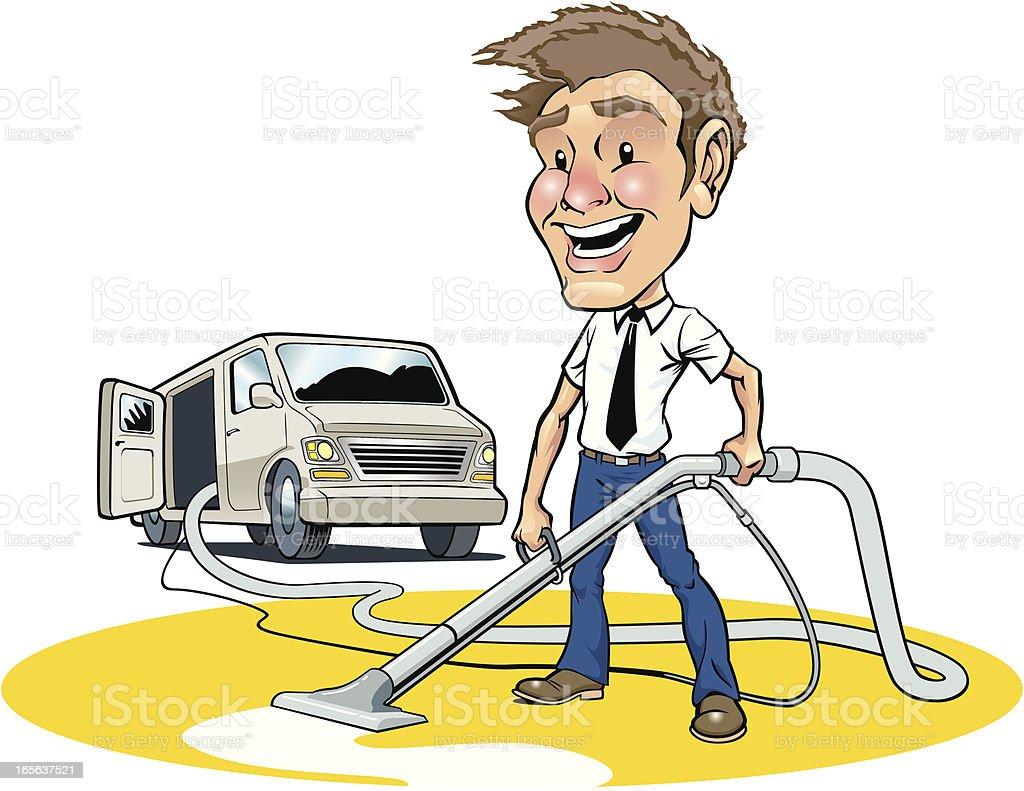 Carpet Cleaning Professional With Vacuum Vector Art ... |Carpet Clean Cartoon